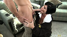 Busty brunette shows her dirty cop side when the horny suspect unleashes his dick
