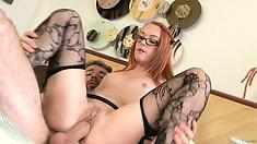 Sweet hot Dani Jensen getting her pussy slammed hard after she sucks a dick