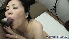 Japanese MILF with tiny tits gets her hairy cunt loaded with cum