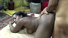 Bushy ebony tart gets her dark meat pierced by a big hard dick