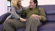 Charming blonde milf in black stockings enjoys a hard pounding all over the couch