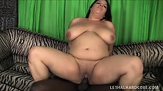 Chunky ebony babe has her black personal trainer filling her pussy with his long rod