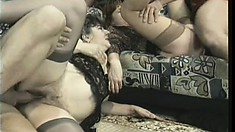 Busty bitches share their mature pussies during a swingers swap