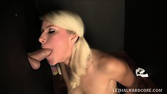 Pretty blonde schoolgirl with perky boobs and a perfect ass worships a big shaft