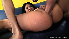 Naughty Asian girl with big boobs spreads her hot legs to enjoy the deep fucking