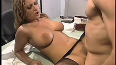 Busty blonde in black pantyhose Avy sucks Trent's cock and then gets fucked deep