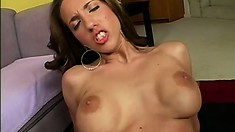 Curvaceous brunette Kelly Divine reveals her body and gets fucked by a huge black cock