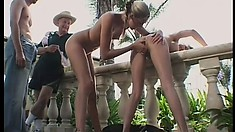 Insatiable Vincent gets horny watching two hot girls fuck with a dildo