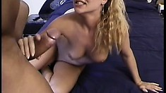 Blonde slut gets licked and fucked by a black cock and gets both holes nailed and goes ATM