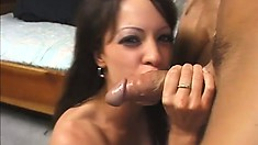 Delicious brunette has a great time taking a dick in her asscrack