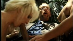 Dirty blonde Ashley has three hung guys taking turns pounding her ass