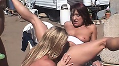 Horny lesbian MILFS play with each other outside on camping trip