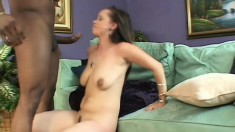 Brunette with a phat ass gets a big black to chew on and drill her cunt