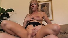 Busty Milf Nicole Moore trades head and gets her bald cunny nailed