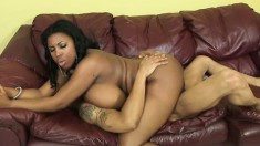 Black chick Maserati bares her big boobs as she gets screwed