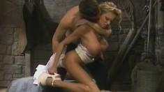 Nasty slut Brianna Banks rubs her big tits over throbbing penis