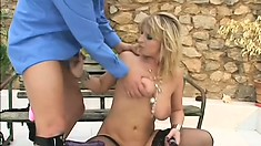 Busty blonde Milf hottie blows him and gets nailed on a bench, gets cum on her titties